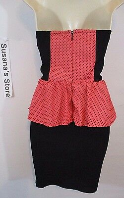 New bebe SEXY STRAPLESS PEPLUM DRESS SIZE S Captivating Coral color Peplum dress 5