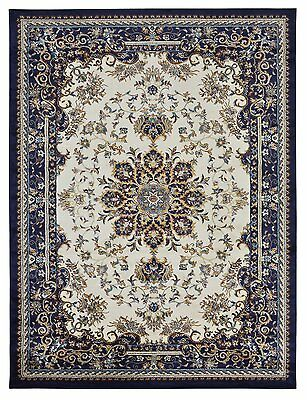 Persian Isfahan Medallion Oriental Traditional Navy Blue