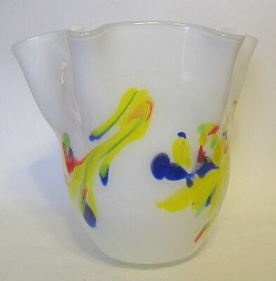 Studio Art Cased Handkerchief Vase Glass Hand Blown White Multicolor 8 to 9 Inch 3