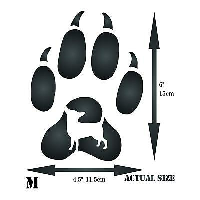 DOG PAW PRINT Stencil Reusable Pet Animal Foot Painting Template Furniture  Glass