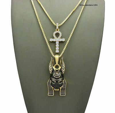 Ancient Egyptian Anubis & Ankh Cross (Key Of Life) Box Chain Necklace Set 2