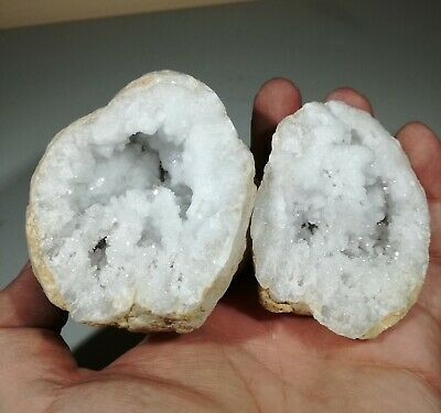 X-Large Split Whole Quartz Geode With White Crystals Matching Pair