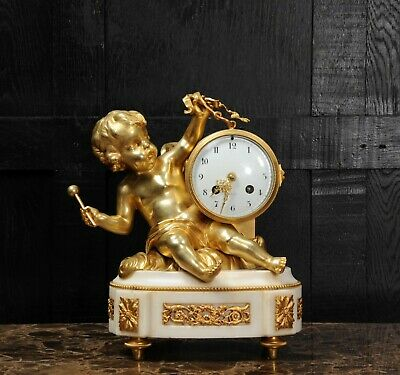 ORMOLU & WHITE MARBLE ANTIQUE FRENCH CLOCK PUTTO in CLOUDS PLAYING a DRUM C1880 5