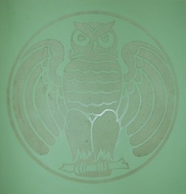 c. 1920's 1930's Vitrolite Building Tile Or Table Top Art Deco Etched Owl Design 2