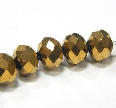 20 Glasperlen Fire-Polished 8mm Gold Braun Tschechische Kristall Perlen BEST X51 3