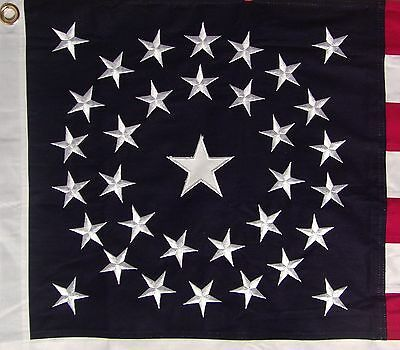 HEAVY COTTON 34 STAR AMERICAN FLAG  embroidered & sewn - HISTORICAL USA 2