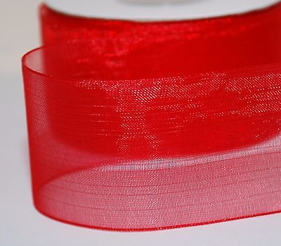 2-10m  Plain & With Gold Stripe Woven Edge Organza Sheer Chiffon Wedding Ribbon 4