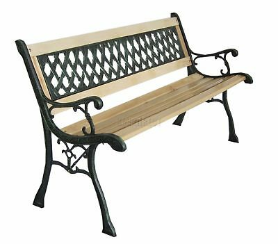 WestWood 3 Seater Outdoor Wooden Garden Bench Cast Iron Legs Park Seat Furniture 2