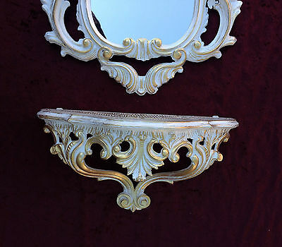 Wall Mirror Baroque White Gold with Console Table Antique Tray Shelf in the Set 4