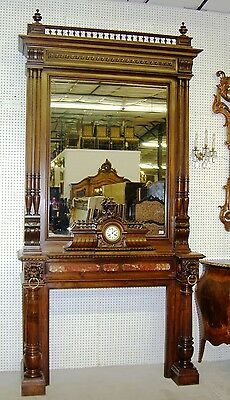 Antique Louis XVI Walnut French Fireplace Mantle Carved Lions w/ Original Clock 10