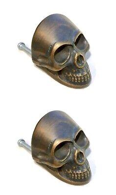 4 medium Skull hardware cabinet Drawer 4cm Gothic Finger Pull Solid age Brass B 2