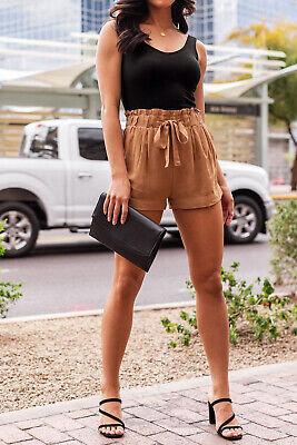 Women's Woven Paperbag High Waist Shorts Tie Belt Pockets Casual Solid Basics 2