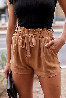 Women's Woven Paperbag High Waist Shorts Tie Belt Pockets Casual Solid Basics 3