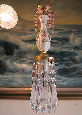 Vintage Capodimonte Pink ROSE porcelain Brass swag lamp chandelier French Chic 11