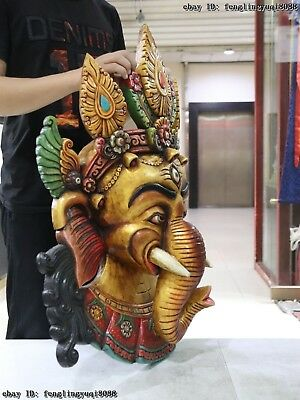 30 Thailand Buddhism Old Wood Hand Carved Color Painted Elephant God Head Mask 10