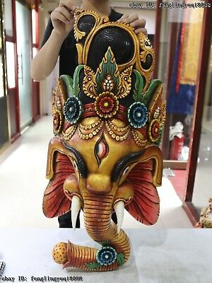 Thailand Temple Old Wood Hand Carved Color Painted Elephant God Head Statue Mask 2
