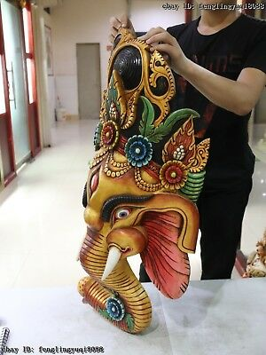 Thailand Temple Old Wood Hand Carved Color Painted Elephant God Head Statue Mask 8