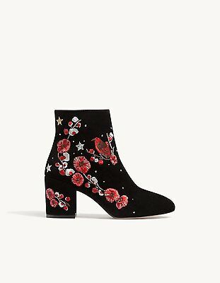 6e9ba97394b ... STRADIVARIUS (Zara group) black floral embroidered leather ankle boots  new 6 8 4