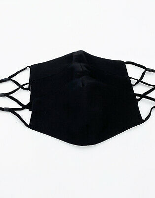 [3 PACK] Black Handmade Reusable Washable Cotton Cloth Face Mask 2 Layers Cover 4