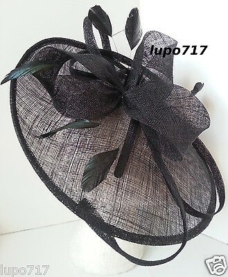 Big Black Sinamay Feather Hat Fascinator Wedding Ascot Race Hen Party Ladies Day 3