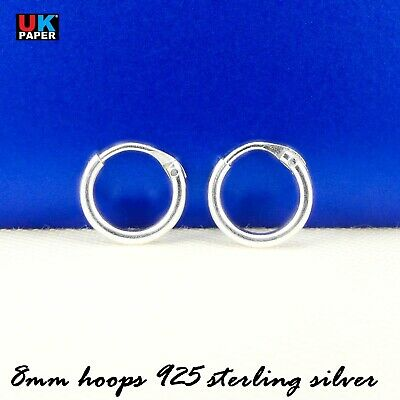New 925 Sterling Silver 8mm Small Tiny Hoop Sleeper Earrings Stud Nose Ring Pair 3