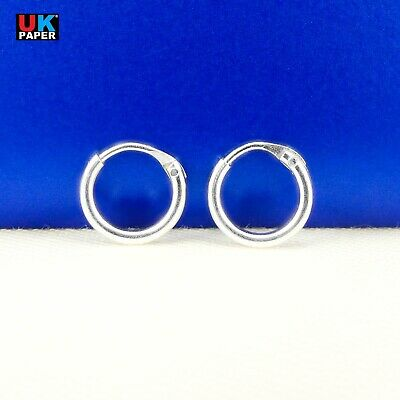 New 925 Sterling Silver 8mm Small Tiny Hoop Sleeper Earrings Stud Nose Ring Pair 2
