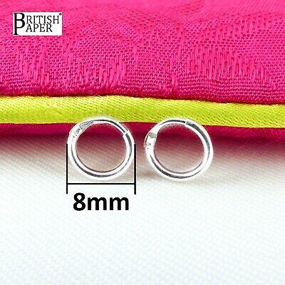 Girls 925 Sterling Silver 8mm -20mm Small Tiny Hinged Hoop Sleeper Earrings Pair 9