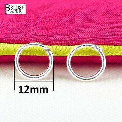 Girls 925 Sterling Silver 8mm -20mm Small Tiny Hinged Hoop Sleeper Earrings Pair 11