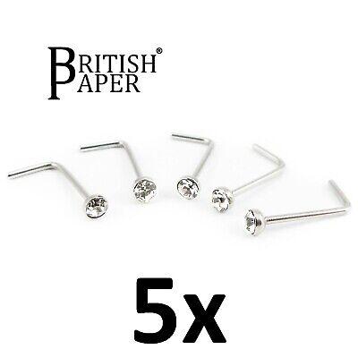 Uk Silver Nose Stud Straight I L Screw Shape Surgical Steel Pin Set Bar Piercing 8