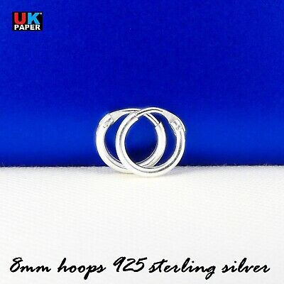 New 925 Sterling Silver 8mm Small Tiny Hoop Sleeper Earrings Stud Nose Ring Pair 5