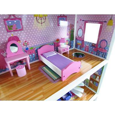 3 Storey Large Mansion Kids Girl Wooden Doll House Pink Dollhouse Furniture 18pc 4