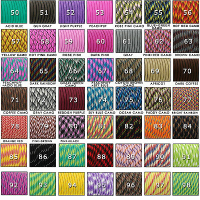 50FT 100FT 550 Parachute Cord Mil Spec Type III Paracord 7 Strands Cores Lanyard 2