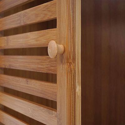Badregal HWC-B18, Badset Badmöbel Badezimmer Badschrank Badregal mit Tür, Bambus