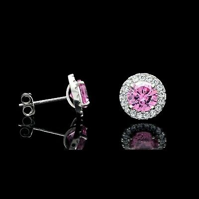 2CT Halo Pink Created Diamond Earrings 14k White Gold Round Cut Rose Studs 2