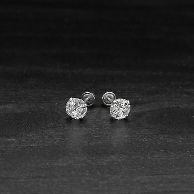 1ct Round Cut Created Diamond Earrings 14K White Gold Solitaire Screwback Studs 4