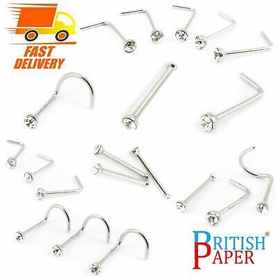 Uk Silver Nose Stud Straight I L Screw Shape Surgical Steel Pin Set Bar Piercing 12