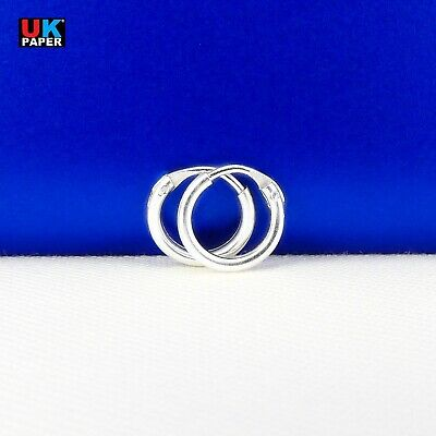 New 925 Sterling Silver 8mm Small Tiny Hoop Sleeper Earrings Stud Nose Ring Pair 6