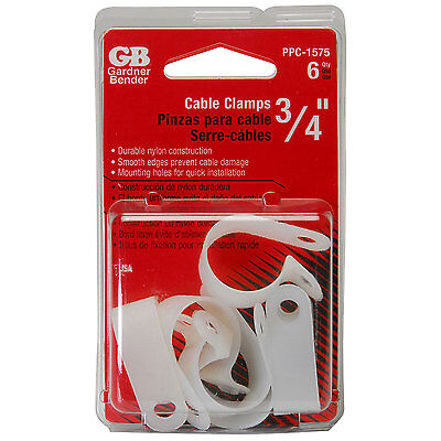 "GB PPC-1575 3/4"" Nylon Cable Clamps Natural 6 Pcs."