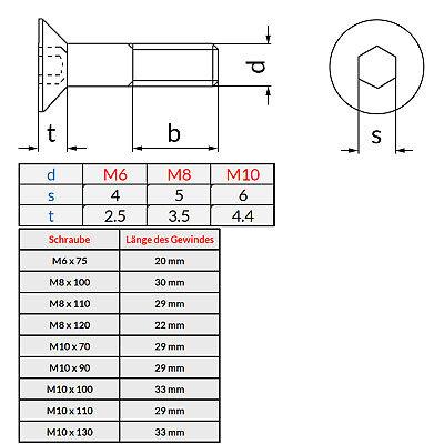 Senkkopfschrauben Edelstahl Senkkopf Innensechskant DIN 7991 M6-M10 Teilgewinde