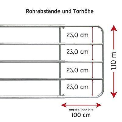 2-3m H:110cm Weidetor verstellbar + Montageset Weidezauntor Feuerverzinkt