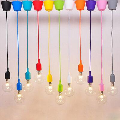 Portalampada pendente silicone colorato cavo telato sospensione lampadario E27 3