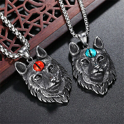 Wolf Head Stainless Steel Silver Pendant Necklace for Men Punk Fashion Jewelry