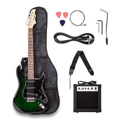 Electric Guitar w/ Guitar Case,15 w AMP,Strap,Tuner,&Pick Steel Strings Green