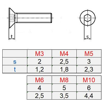 Senkkopfschrauben Edelstahl Senkkopf Innensechskant DIN 7991 M3-M10