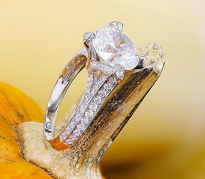 14K White Gold Round Forever One Moissanite and Diamond Engagement Ring 2.20ct 8