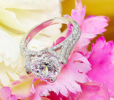 14K White Gold Round Forever One Moissanite and Diamond Engagement Ring 2.20ct 9