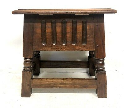 Antique Carved Oak Joint Stool Slipper Box / Occasional Table / Lamp Stand 6