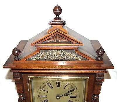 Antique Oak & Brass TING TANG Bracket Mantel Clock : CLEANED & SERVICED (a60) 6