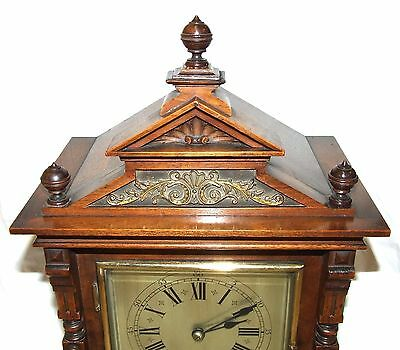 # Antique Oak & Brass TING TANG Bracket Mantel Clock : CLEANED & SERVICED (a60) 6