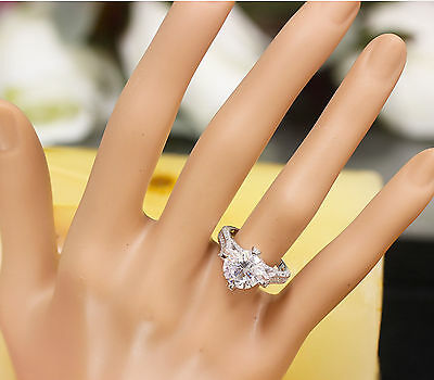 14K White Gold Round Forever One Moissanite and Diamond Engagement Ring 2.20ct 10